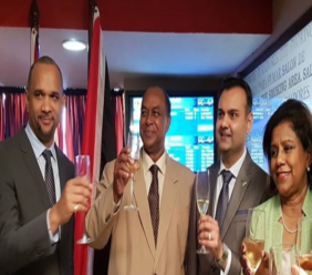 Toasting to CAL: From left CAL CEO Garvin Medera, Ambassador to Cuba Dr Lancelot Cowie, CAL Chairman Shameer Mohammed and Trade Minister Paula Gopee-Scoon