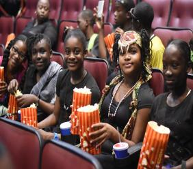 These young ladies are a picture of excitement ahead of a 'Black Panther' viewing at the Carib cinema in Kingston last week. (PHOTO: Marlon Reid)