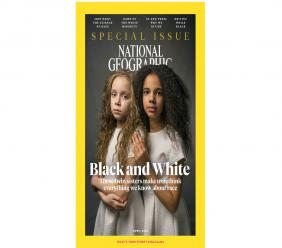 This image provided by National Geographic shows the cover of the April 2018 issue of National Geographic magazine, a single topic issue on the subject of race. (National Geographic via AP)
