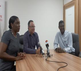 (L-R) Nneka Archer, Engineering Manager Transmission and Distribution Assets; Managing Director, Roger Blackman and Rohan Seale, Director Asset Management.