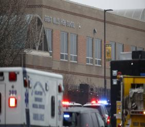 (Image: AP: Police at  Great Mills High School, Maryland, on 20 March 2018)