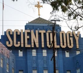 The Scientology Cross perched atop the Church of Scientology in Los Angeles. (AP Photo/Richard Vogel)
