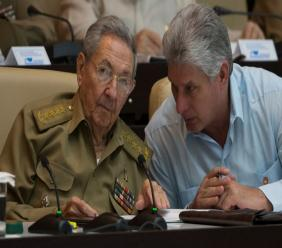 Raul Castro (left) with Miguel Diaz-Canel, his expected successor.