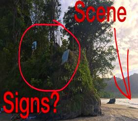 (Photo: Anton Blackman showed the scene where three tourists nealy lost their lives at Las Cuevas Beach.)