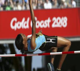 (Image: AP:Saint Lucia's Levern Spencer competes in the high jump on 14 April 2018)
