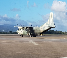 Aircraft arrives to repatriate Venezuelan nationals at Piarco International Airport (Image: Ministry of National Security)