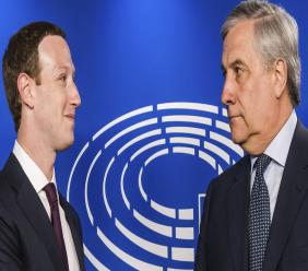 (Image: AP: European Parliament President Antonio Tajani welcomes Facebook CEO Mark Zuckerberg at the EU Parliament in Brussels on 22 May 2018)