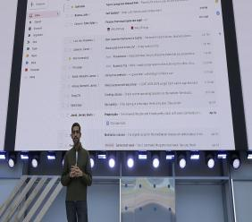 (Image: AP: Google CEO Sundar Pichai speaks at the Google conference on 8 May 2018)