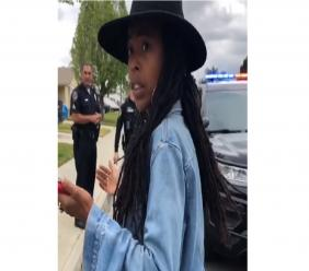 Screenshot of a video of the incident posted by Donisha Prendergast (pictured) to social media.