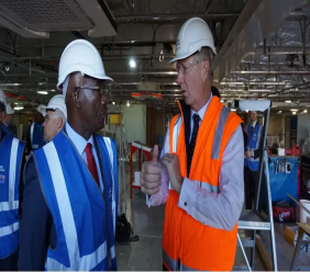 Prime Minister Rowley and Austal's Chief Executive Officer Mr David Singleton touring the shipyard in Perth