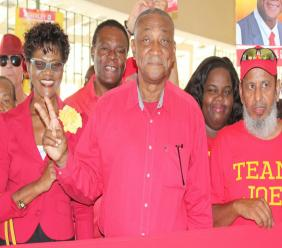 Bishop Joseph Atherley surrounded by party supporters on Nomination Day. (File Photo)