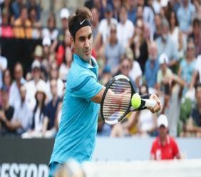 Roger Federer in action in Germany.