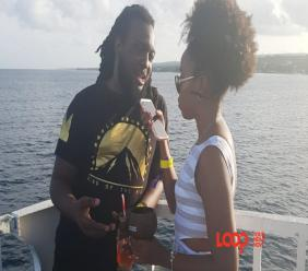 Rico 'Rico Love' Jean-Marie and Loop's journalist on Escape cruise.