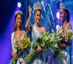 Ysabel Bisnath (centre) was crowned Miss World Trinidad and Tobago on Sunday 5 August.