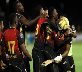 Trinbago Knight Riders celebrate their Hero Caribbean Premier League (CPL) victory over Jamaica Tallawahs at the Central Broward Regional Park in Fort Lauderdale, United States on Sunday, August 19, 2018. (PHOTO: CPL via Getty Images).