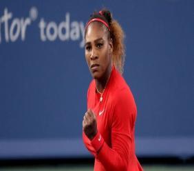 L'Américaine Serena Williams face à l'Australienne Daria Gavrilova au 1er tour du tournoi de Cincinnati, le 13 août 2018