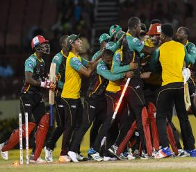 St Kitts & Nevis Patriots celebrate winning the Hero Caribbean Premier League (CPL)  play-off match against Jamaica Tallawahs at Guyana National Stadium on September 12, 2018. (PHOTO: CPL via Getty Images).
