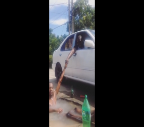 Photo: A leaking pothole in Gasparillo was repaired within hours after Shaquille Forbes' video went viral online. Photo and video courtesy Shaquille Forbes/Facebook.