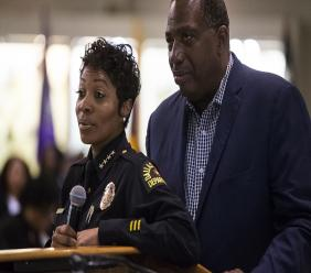 Dallas Police Chief U. Renee Hall and State Senator Royce West listen as people ask questions regarding Botham Jean following an African American Leadership summit on Saturday, Sept. 8, 2018 at Paul Quinn College in Dallas. (Shaban Athuman/The Dallas Morning News via AP)
