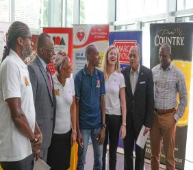 Stakeholders share lens time at the launch of the 2018 Reggae Marathon at the Digicel headquarters on Wednesday. (PHOTO and VIDEO: Shawn Barnes)