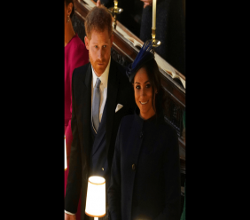 Britain's Prince Harry and Meghan, Duchess of Sussex attend the wedding of Princess Eugenie of York and Jack Brooksbank in St George's Chapel, Windsor Castle, near London, England, Friday Oct. 12, 2018. (Owen Humphreys, Pool via AP)