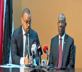 Prime Minister Dr Keith Rowley speaks at a conference to respond to allegations made against him by Oropouche East MP Dr Roodal Moonilal in relation to the Petrotrin fake oil scandal. He was accompanied by his attorney, Michael Quamina (left).