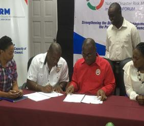 From left: Phillipa-Rickets-Edmund, disaster co-ordinator at the Portmore Municipal Corporation (PMC); Courtney Campbell, deputy CEO at the PMC; Mayor of Portmore and chairman of the PMC, Leon Thomas; Kenord Grant, chairman, disaster prevention, hazard mitigation and public health committee at the PMC and Georgia Crawford-Williams, sociological consultant and corporate trainer for IH Cantabria.