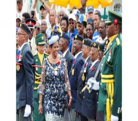Governor General Dame Sandra Mason inspects the troops.