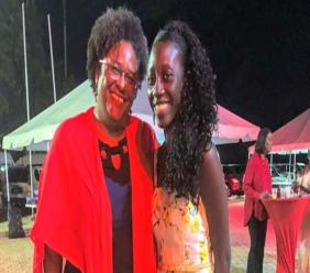 Prime Minister Mia Mottley and LaShawna Griffith at the Barbados Labour Party (BLP) Conference. (La Shawna Talisha Facebook Photo)
