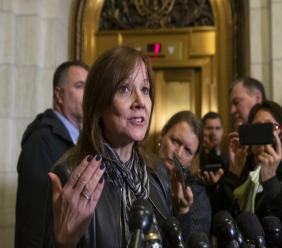 General Motors CEO Mary Barra speaks to reporters after a meeting with Sen. Sherrod Brown, D-Ohio, and Sen. Rob Portman, R-Ohio, to discuss GM's announcement it would stop making the Chevy Cruze at its Lordstown, Ohio, plant, part of a massive restructuring for the Detroit-based automaker, on Capitol Hill in Washington, Wednesday, Dec. 5, 2018. (AP Photo/J. Scott Applewhite)
