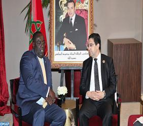 Le ministre des affaires étrangers d'Haiti Edmond Bocchit ainsi que son homologue Marocain M. Nasser Bourita - Crédit Photo : MAP expresse