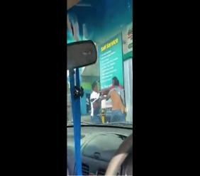 Photo taken from a video shared via Facebook shows a brawl which took place at a Unipet gas station on December 16, 2018.