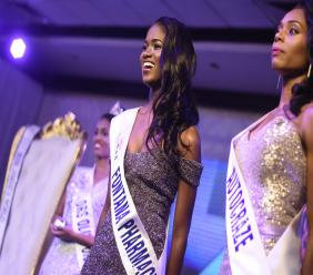 Kadijah Robinson (centre) during the Miss Jamaica World pageant earlier this year.