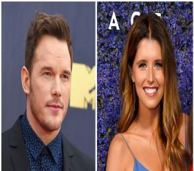 This combination of file photos shows Chris Pratt at the MTV Movie and TV Awards on June 16, 2018, in Santa Monica, Calif., left, and Katherine Schwarzenegger at Caruso's Palisades Village opening gala on Sept. 20, 2018, in Los Angeles, right. (Photo by Jordan Strauss/Invision/AP, File)