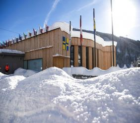 The congress centre, venue for the World Economic Forum, is covered with snow in Davos, Switzerland, Tuesday, Jan. 15, 2019. The World Economic Forum will take place in Davos from Jan. 22 to 25. (AP Photo)