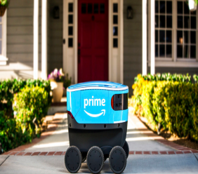 This undated photo provided by Amazon shows a self-driving delivery robot that Amazon is calling Scout. The online shopping giant says it started to test self-driving robots in Snohomish County, Wash., Wednesday, Jan. 23, 2019, that can bring Amazon packages to shoppers' doorsteps. (Amazon via AP)