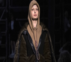 This Feb. 17, 2019 photo shows a model wearing a creation by Burberry at the Autumn/Winter 2019 fashion week runway show in London. (Photo by Vianney Le Caer/Invision/AP)