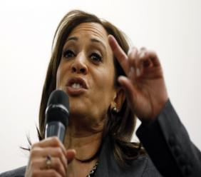 In this January 28, 2019, photo, Sen. Kamala Harris, D-Calif., speaks to students at Drake University in Des Moines, Iowa. (AP Photo/Charlie Neibergall)