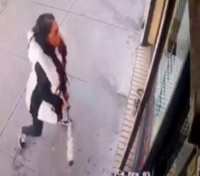 "In this January 15, 2019 image taken from surveillance video, a woman smashes the windows of ""Back Home Restaurant"" in the Bronx borough of New York. Police say that she became upset after ordering a patty and was told that the restaurant had run out of them. She returned with a bat and smashed two windows. (New York City Police Department via AP)"