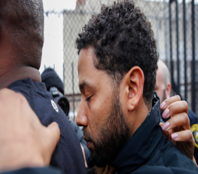 """""""Empire"""" actor Jussie Smollett leaves Cook County jail following his release, Thursday, Feb. 21, 2019, in Chicago. Smollett was charged with disorderly conduct and filling a false police report when he said he was attacked in downtown Chicago by two men who hurled racist and anti-gay slurs and looped a rope around his neck, a police said. (AP Photo/Kamil Krzaczynski)"""