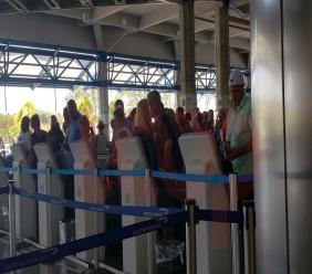 Barbados' Grantley Adams International Airport has kiosks to self-check