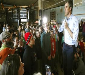 Democratic presidential candidate Beto O'Rourke visits Cargo Coffee on East Washington Avenue during a stop in Madison, Wis., Sunday, March 17, 2019. (Amber Arnold/Wisconsin State Journal via AP)