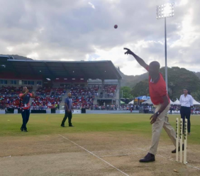 Prime Minister Dr Keith Rowley shows off his bowling skills at the opening of the new Diego Martin Sporting Complex over the weekend. Photo via Facebook, Dr Keith Rowley.