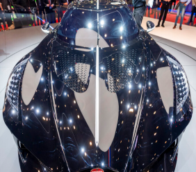 The New car Bugatti La voiture Noire is presented during the press day at the '89th Geneva International Motor Show' in Geneva, Switzerland, Tuesday, March 5, 2019. (Martial Trezzini/Keystone via AP)