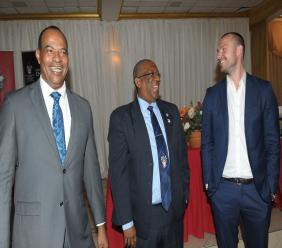 Pro Vice-Chancellor and Principal of The UWI Mona Campus, Professor Dale Webber (centre), Dean of the Faculty of Engineering, The UWI Mona, Dr Paul Aiken (L); Managing Director, New Fortress Energy, Jake Suski (R) pictured at the launch of the newly established Faculty of Engineering at the Mona visitor's Lodge in Kingston last year.