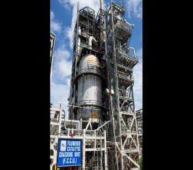 Photo: Petrotrin's Fluidized Catalytic Cracking Unit (FCCU)/Cat Cracker at Pointe-a-Pierre, taken in 2017. Photo via Petrotrin's Facebook page.