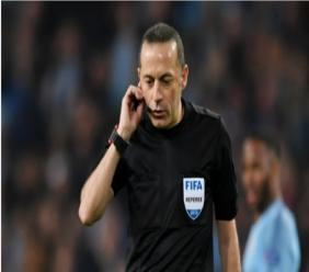 Referee Cuneyt Cakir during Manchester City v Tottenham in the Champions League.
