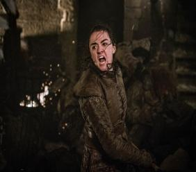 "This image released by HBO shows Maisie Williams in a scene from ""Game of Thrones,"" that aired Sunday, April 28, 2019. (Helen Sloan/HBO via AP)"