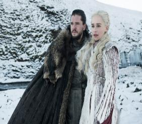 """This photo released by HBO shows Kit Harington as Jon Snow, left, and Emilia Clarke as Daenerys Targaryen in a scene from """"Game of Thrones,"""" which premiered its eighth season on Sunday. (HBO via AP)"""