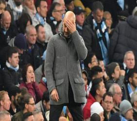 L'entraîneur de Manchester City Pep Guardiola, dépité, durant le quart de finale de Ligue des champions contre Tottenham, le 17 avril 2019
